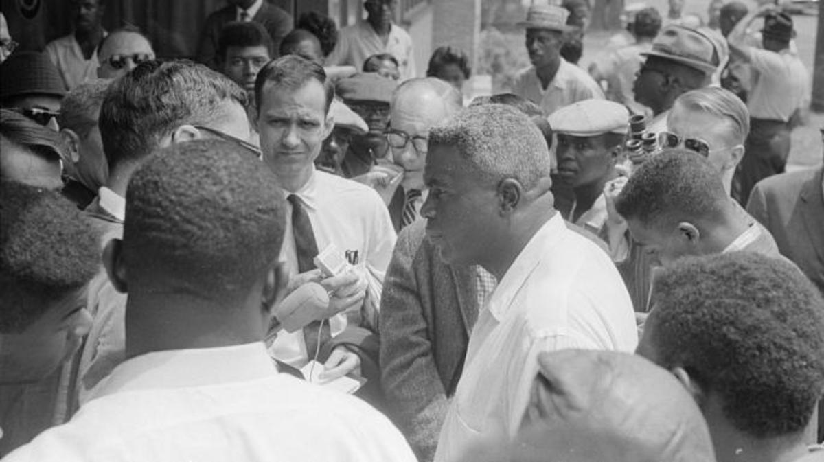 Jackie Robinson at a protest in Birmingham, Alabama.