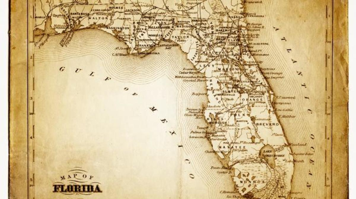 Map of florida, Mexican Gulf and Atlantic Ocean. (Credit: THEPALMER/Getty Images)
