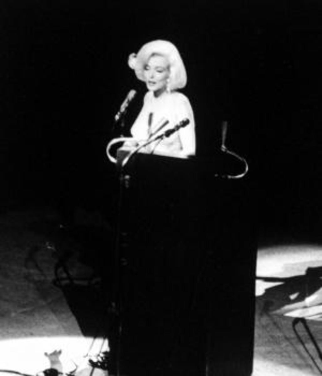 """Marilyn Monroe sings """"Happy Birthday"""" to Kennedy on May 19, 1962. (Credit: Yale Joel/Life Magazine/Time & Life Pictures/Getty Images)"""