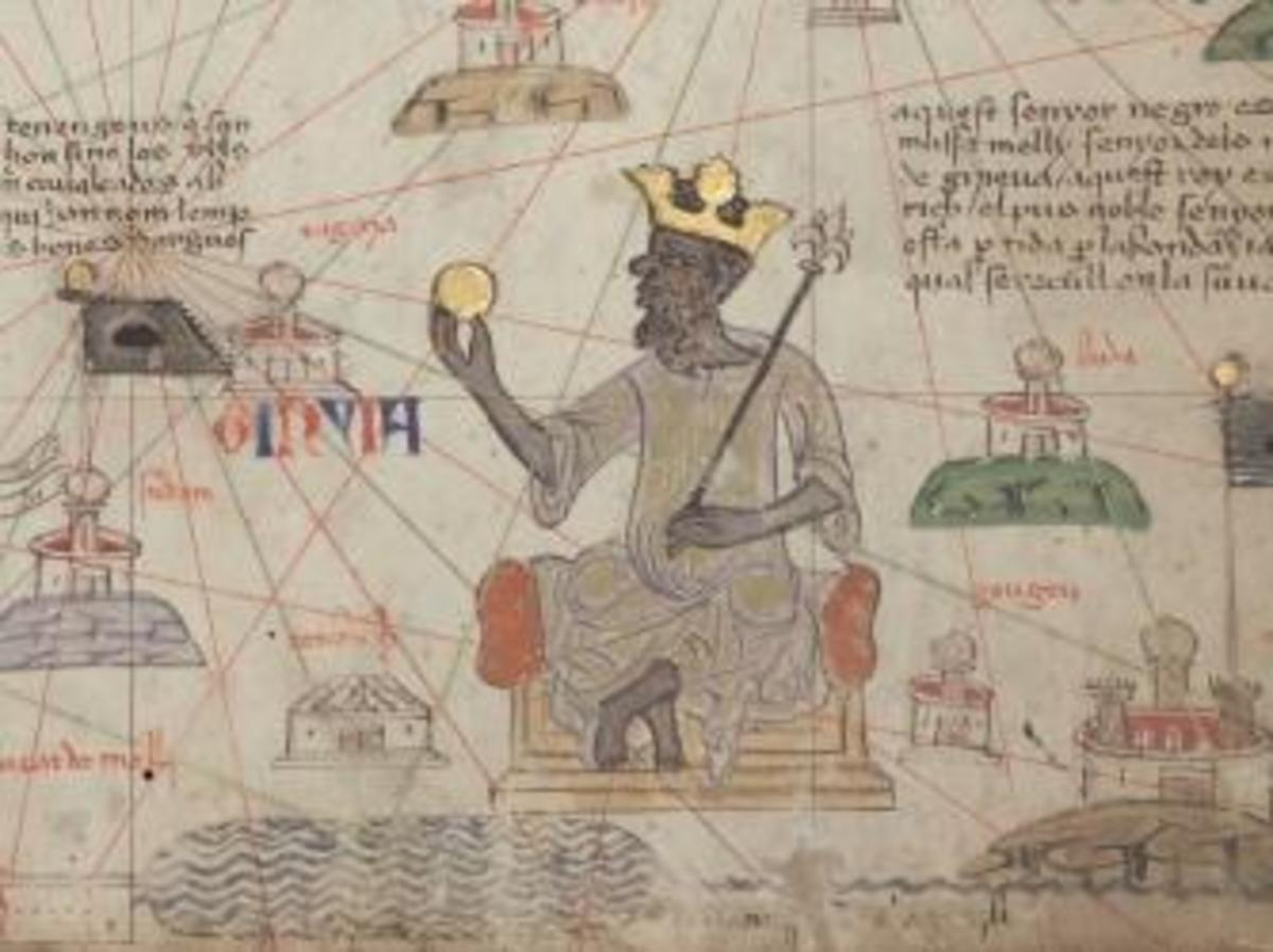 Detail showing Mansa Musa sitting on a throne and holding a gold coin. (Credit: Public Domain)