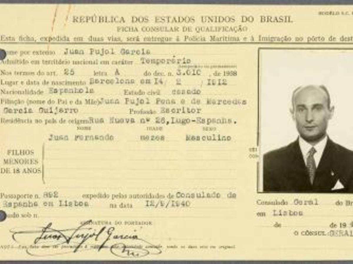 Juan Pujol-García Brazilian ID card. (Credit: National Archives)