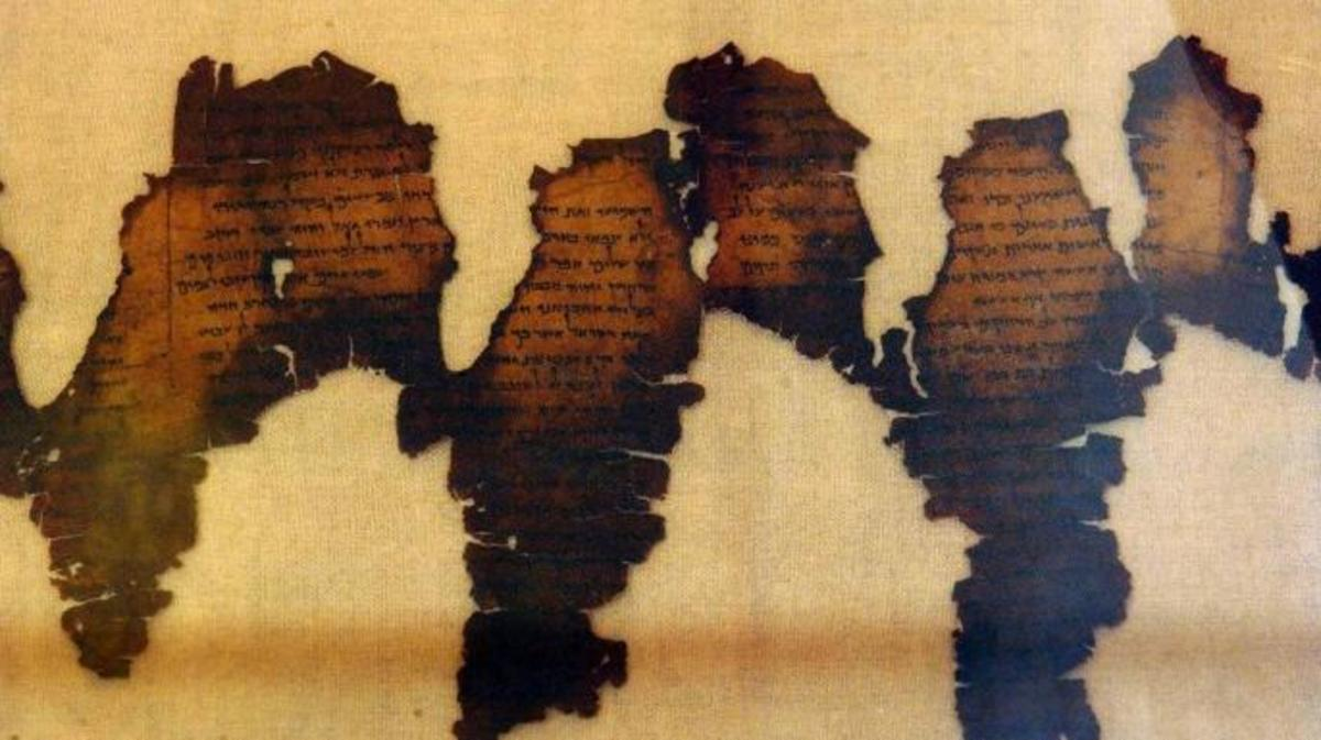 Fragments of the Dead Sea Scrolls on display in Montreal's Pointe-a-Callieres Archeological Museum in 2003.