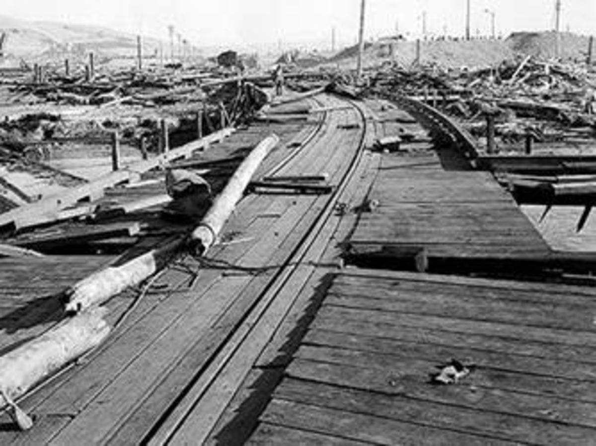 Damage at Port Chicago, looking south from ship pier