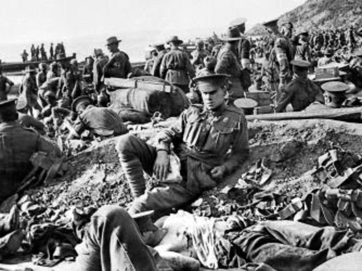 Australian soldiers on the beach at Anzac Cove on April 25, 1915. (Credit: Philip Schuller/The AGE/Fairfax Media via Getty Images)