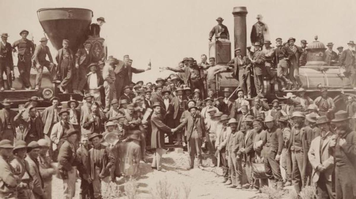 The ceremony for the driving of the golden spike at Promontory Summit, Utah on May 10, 1869. (Credit: Public Domain)
