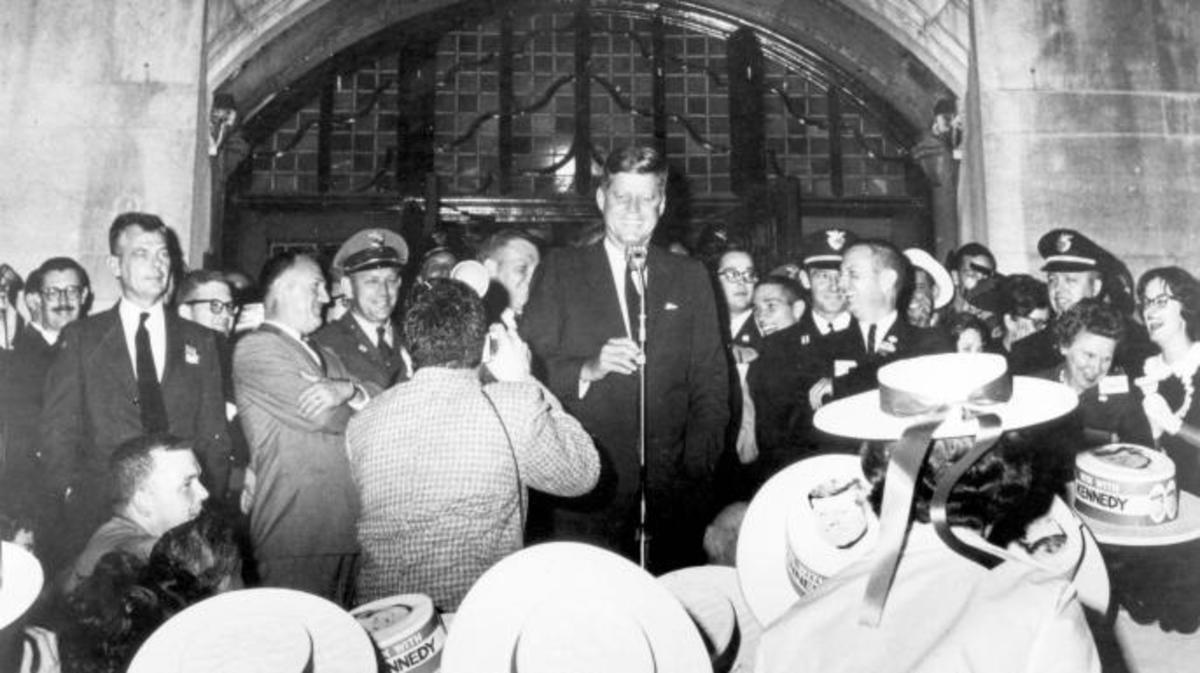 John F. Kennedy speaks with students at the University of Michigan on October 14, 1960.