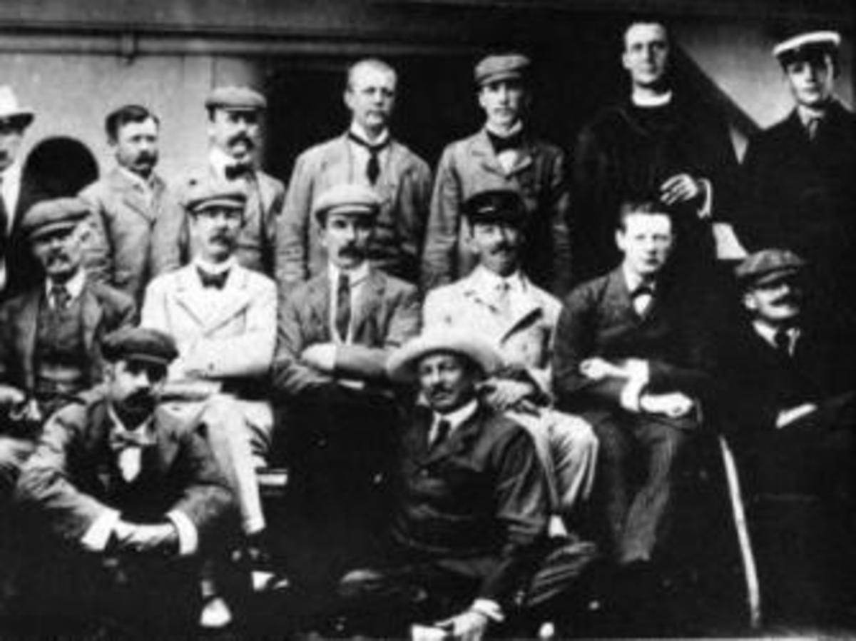 Returning from the Boer War on the RMS Dunottar Castle, July 1900. Churchill is seated, second from right
