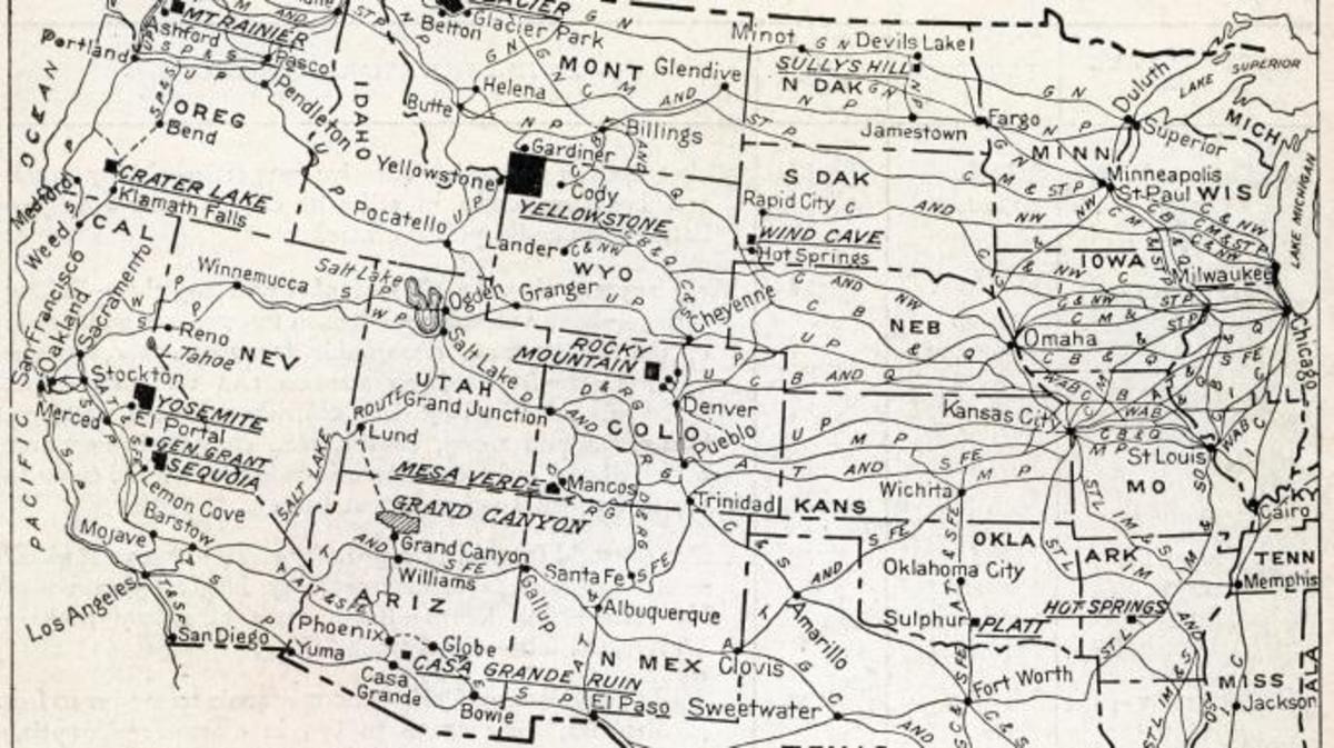 Map of national parks in 1916