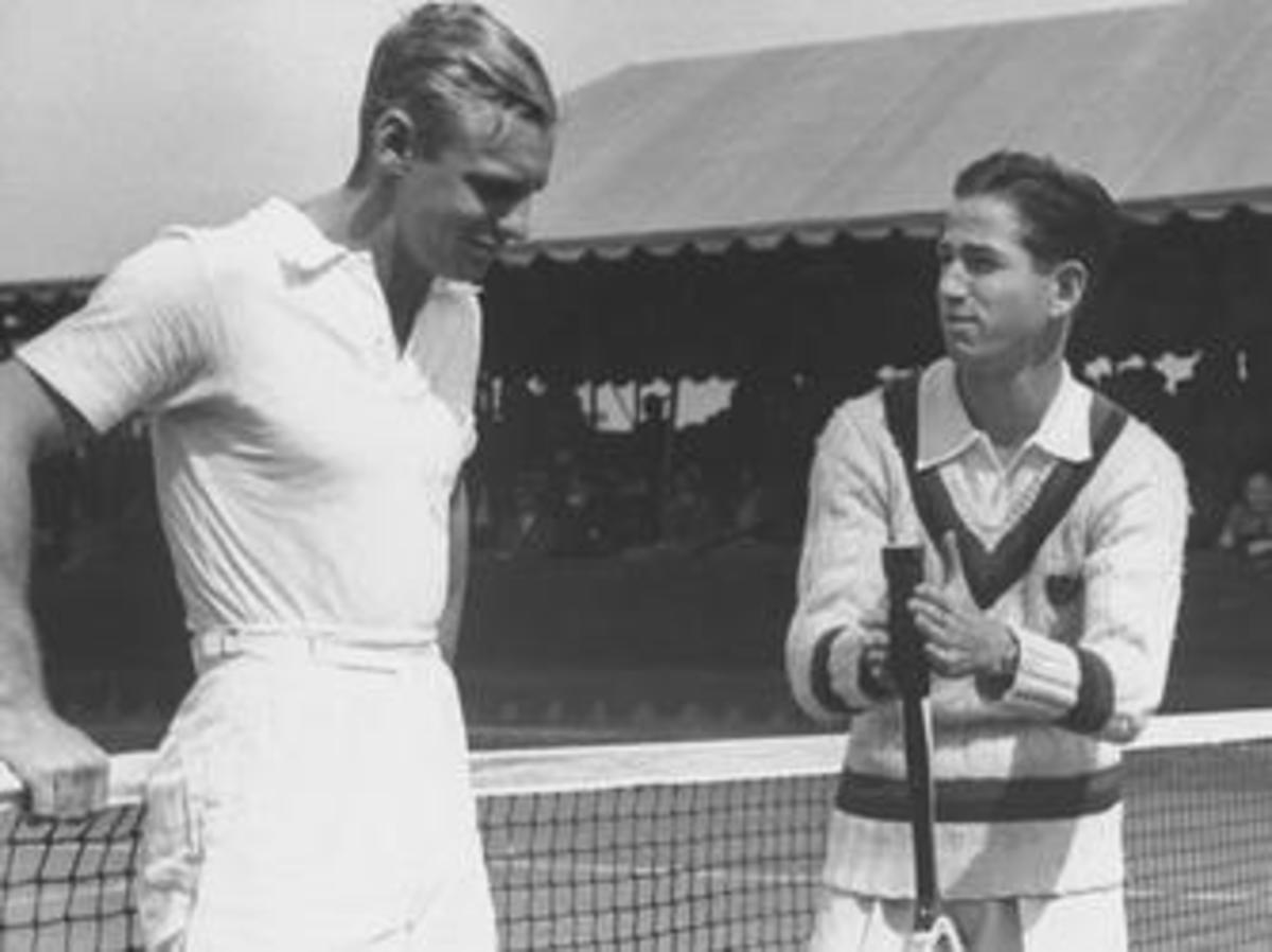 Joe Hunt and Bobby Riggs at the 1938 national championships (Credit: Time Life Pictures/Pix Inc./The LIFE Picture Collection/Getty Images)