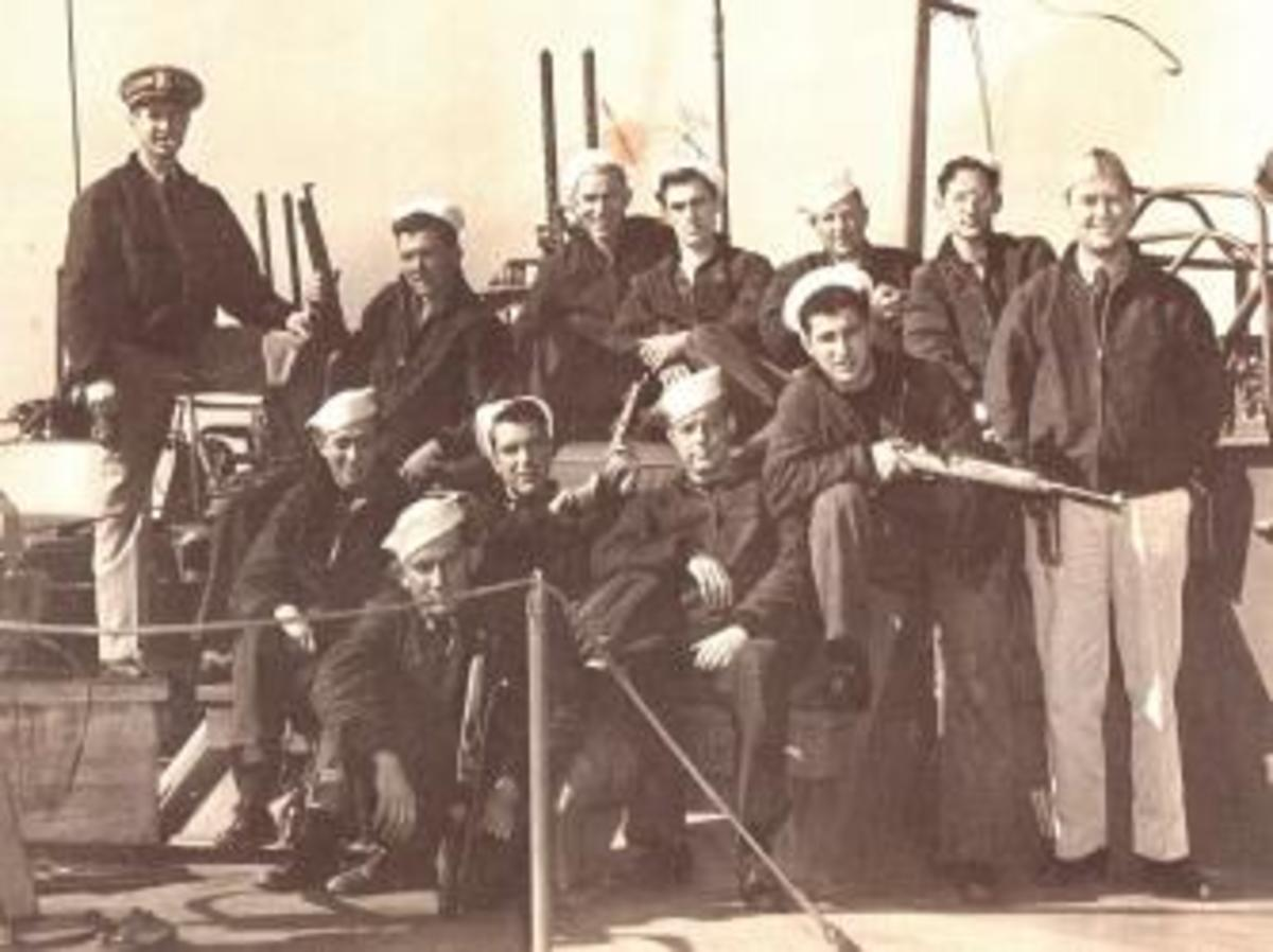 PT-305's first crew. Top row: Leonard Martyr, James Nerison, Benedict Bronder, Joseph Cirlot, Percy Wallace, William Minnick, William Borsdorff. Second Row: George Miles, Frank Crane, Donald Weamer, Fernando Ferrini. Bottom: William Schoonover. (Gift of Mitchell Cirlot/Courtesy of The National WWII Museum)