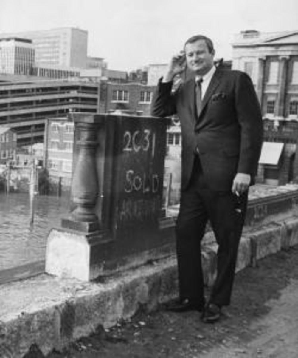 American entrepreneur Robert P McCaulloch, standing on London Bridge as it is dismantled, ready for transportation back to America, April 18th 1968. (Credit: Jim Gray/Keystone/Getty Images)