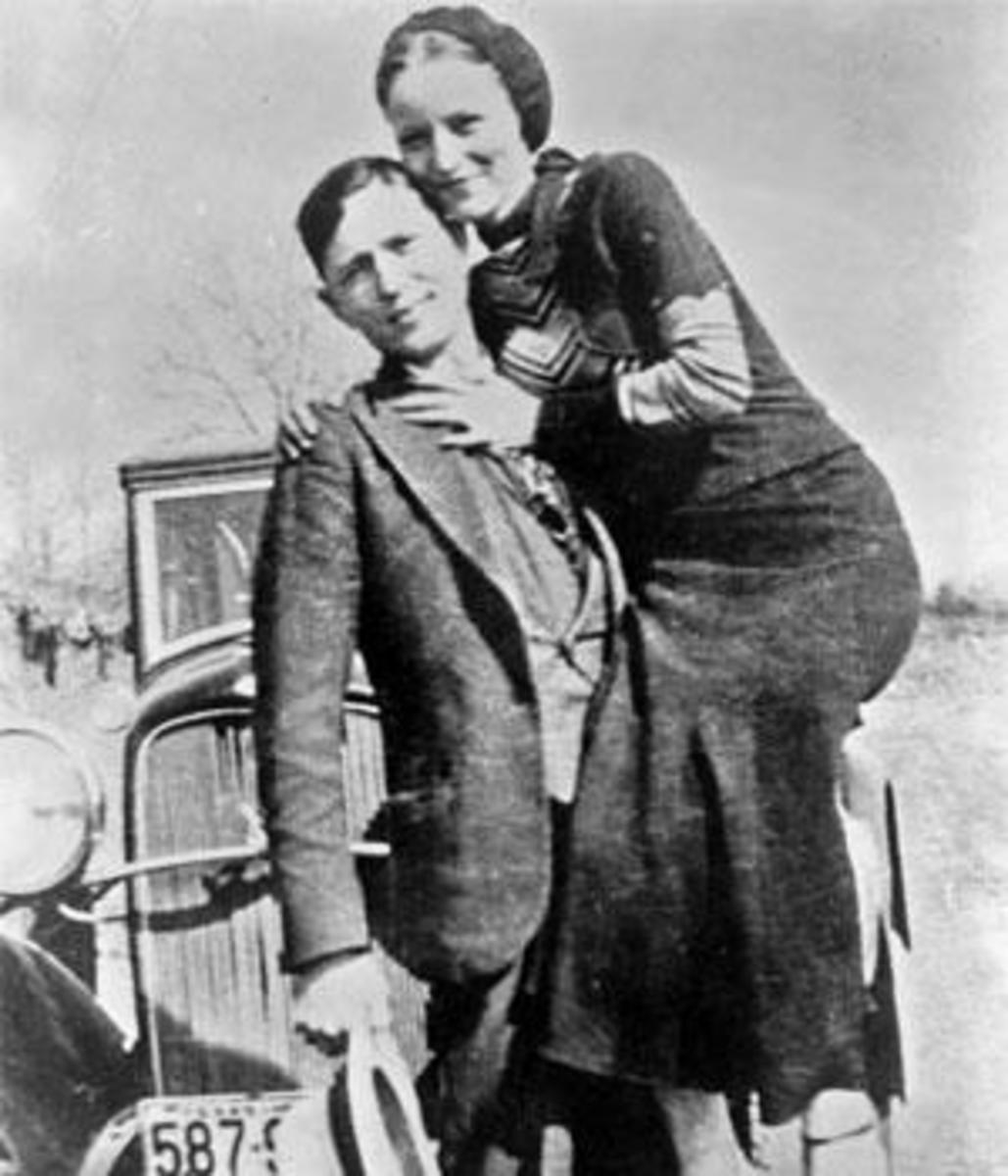 Bonnie Parker and Clyde Barrow in a photograph from the early 1930s. (Library of Congress)