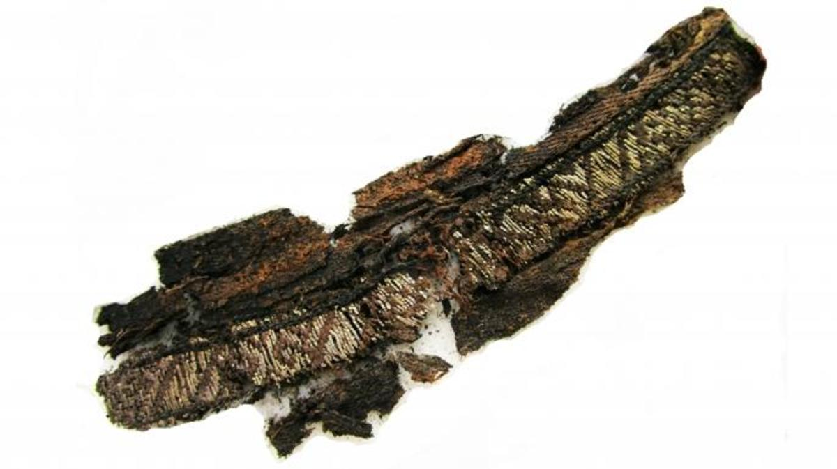 Excavated fragments of a woven band discovered at the Swedish sites. (Credit: Annika Larsson)