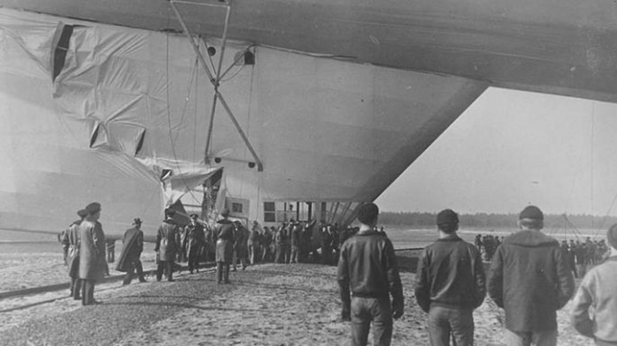 The lower fin of the USS Akron damaged after an incident in February, 1932. (Credit: U.S. Navy Naval History and Heritage Command)