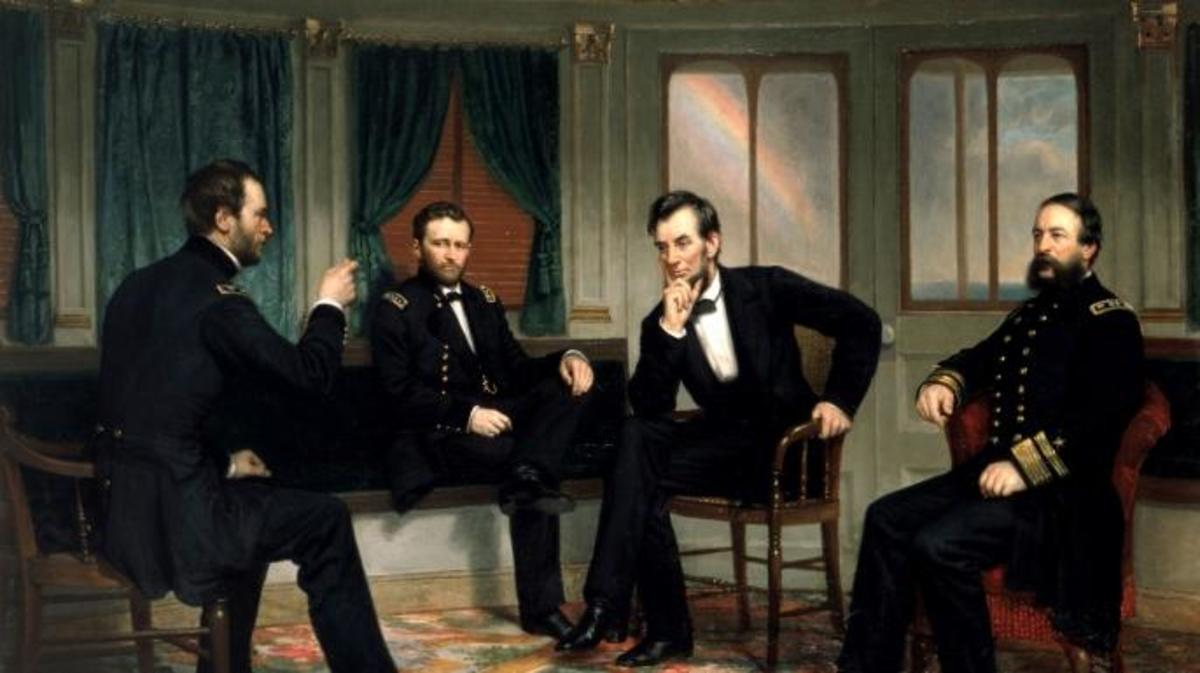 Sherman, Grant, Lincoln, and Porter aboard the River Queen, 1865.