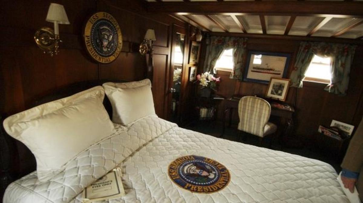 The main bedroom in U.S.S. Sequoia, Presidential Yacht.  (Credit: Tom Williams/Roll Call/Getty Images)