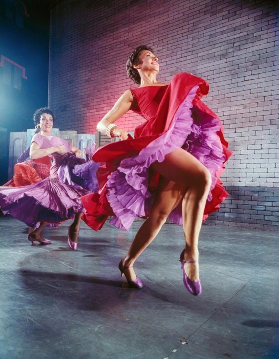 Actresses Chita Rivera (R) and Liane Plane dancing in a scene in the Broadway production of 'West Side Story.' (Credit: Hank Walker/The LIFE Picture Collection/Getty Images)