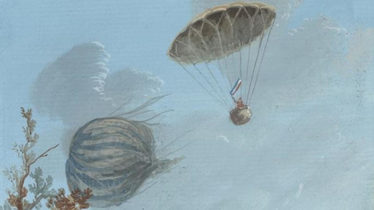 Painting shows descent of Andre-Jacques Garnerin in a basket attached to a parachute from about 1000 meters while the unmanned balloon falls to the ground. (Credit: VCG Wilson/Corbis/Getty Images)