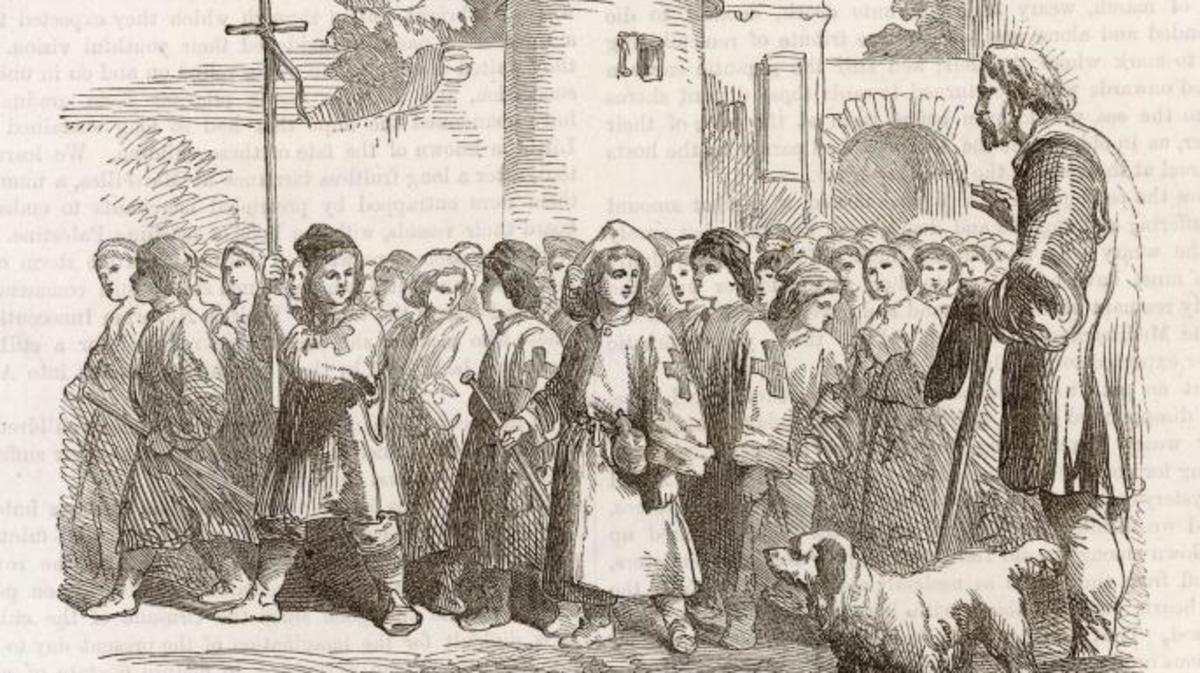 Procession of children during their Crusade started by Stephen, a shepherd boy who was persuaded by a priest that he was appointed by heaven to recover the Holy Sepulchre, 1212. (Credit: Chronicle/Alamy Stock Photo)