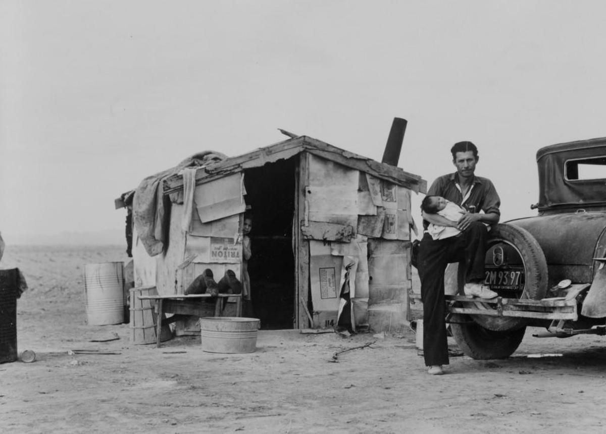 Migratory Mexican field worker's home in Imperial Valley, California. Photographed by Dorothea Lange, 1938. (Credit: Universal History Archive/UIG via Getty Images)