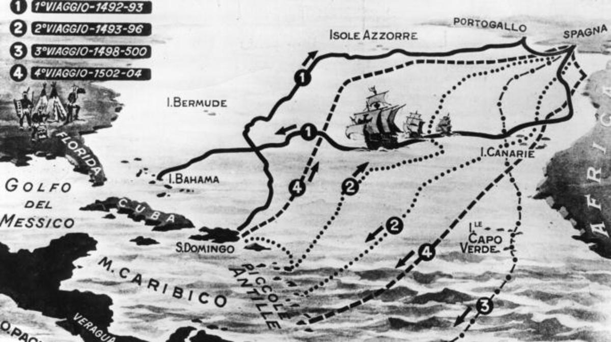 Circa 1510, A map of the four voyages of the Italian navigator, Christopher Columbus. (Credit: Hulton Archive/Getty Images)