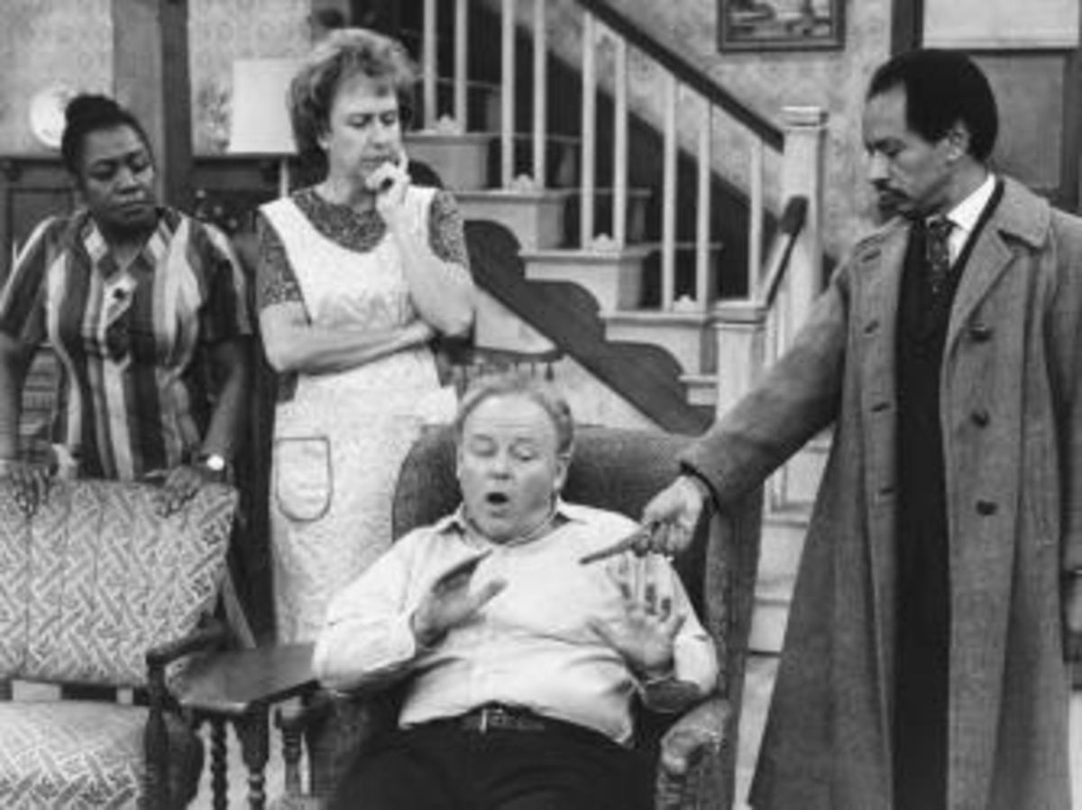 """Isabel Sanford (left) and Sherman Hemsley (right) guest starring on """"All in the Family,"""" before the premiere of their popular spin-off, """"The Jeffersons."""" ("""