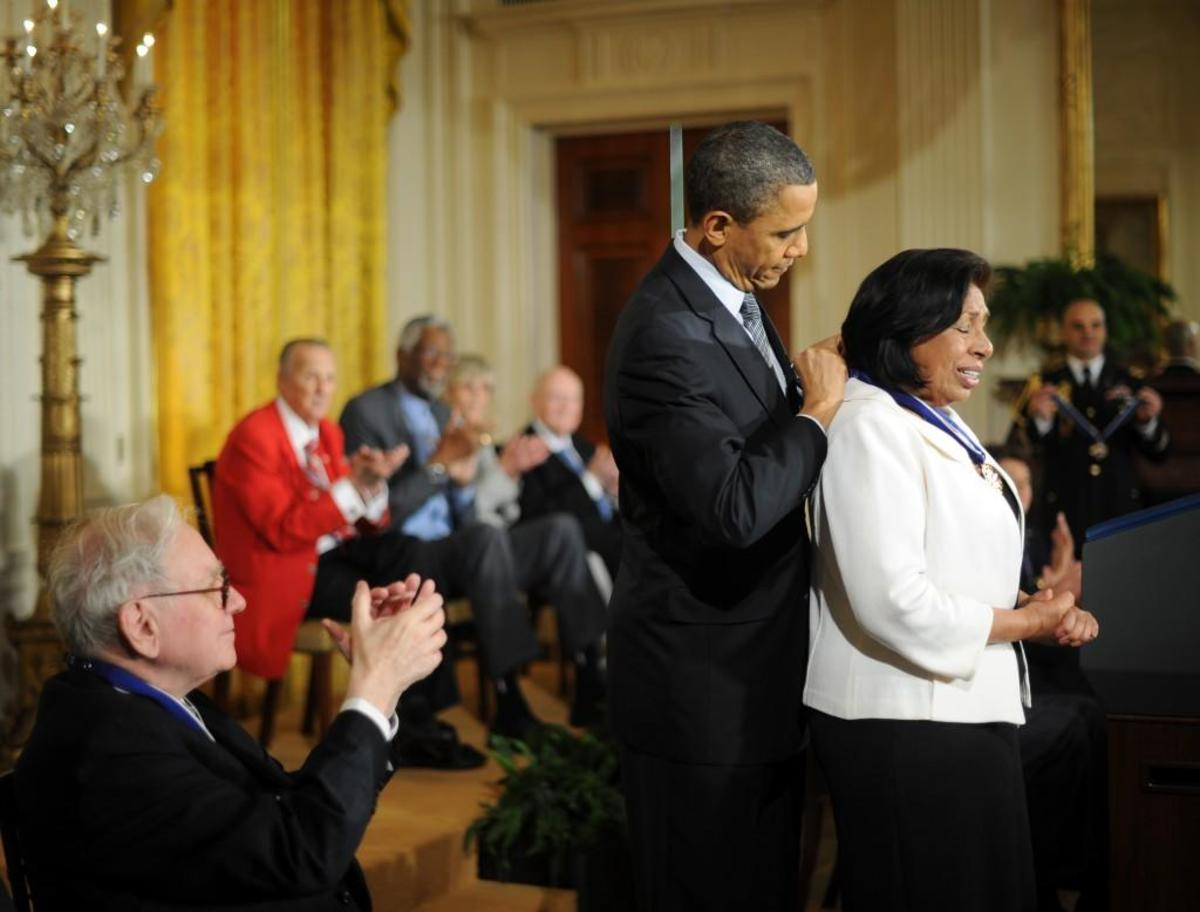 U.S. President Barack Obama presenting the 2010 Medal of Freedom to Sylvia Mendez, a civil-rights activist of Mexican and Puerto Rican descent. At age 8, Mendez played a pivotal role in a 1946 landmark court case that desegregated California schools.