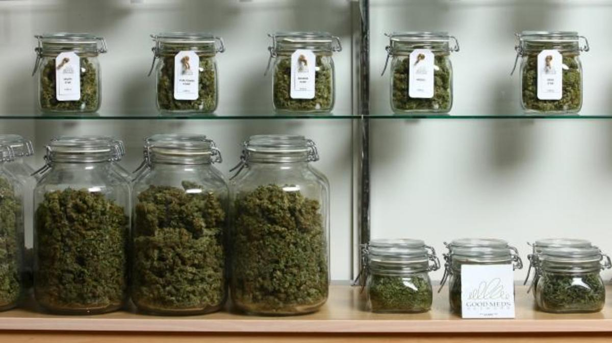 Jars of medical cannabis inside a Good Meds medical cannabis center in Lakewood, Colorado. (Credit: Matthew Staver/For The Washington Post via Getty Images)