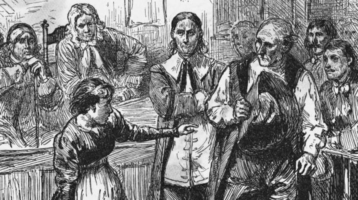 The trial Of Giles Corey. (Credit: Bettmann/Getty Images)