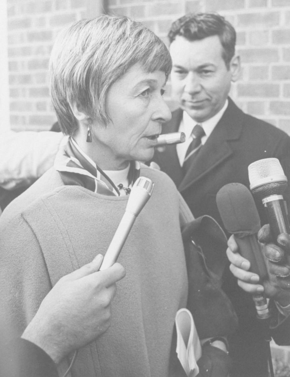 Jane Hart, wife of US Senator Philip Hart, being interviewed by reporters.  (Credit: Time Life Pictures/Pix Inc./The LIFE Picture Collection/Getty Images)