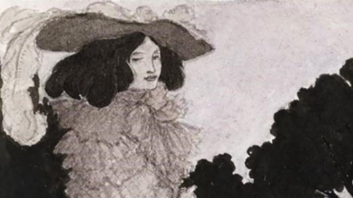 "Illustration of Mademoiselle de Maupin, from ""Six Drawings Illustrating Theophile Gautier's Romance Mademoiselle de Maupin"", by Aubrey Beardsley, 1897."