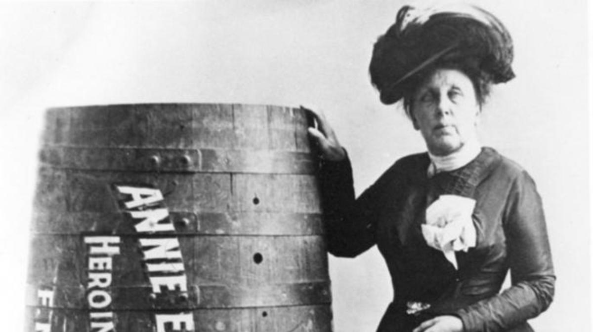 Daredevil Annie Edson Taylor, who at 63 became the first person to survive a trip over Niagara Falls in a barrel.