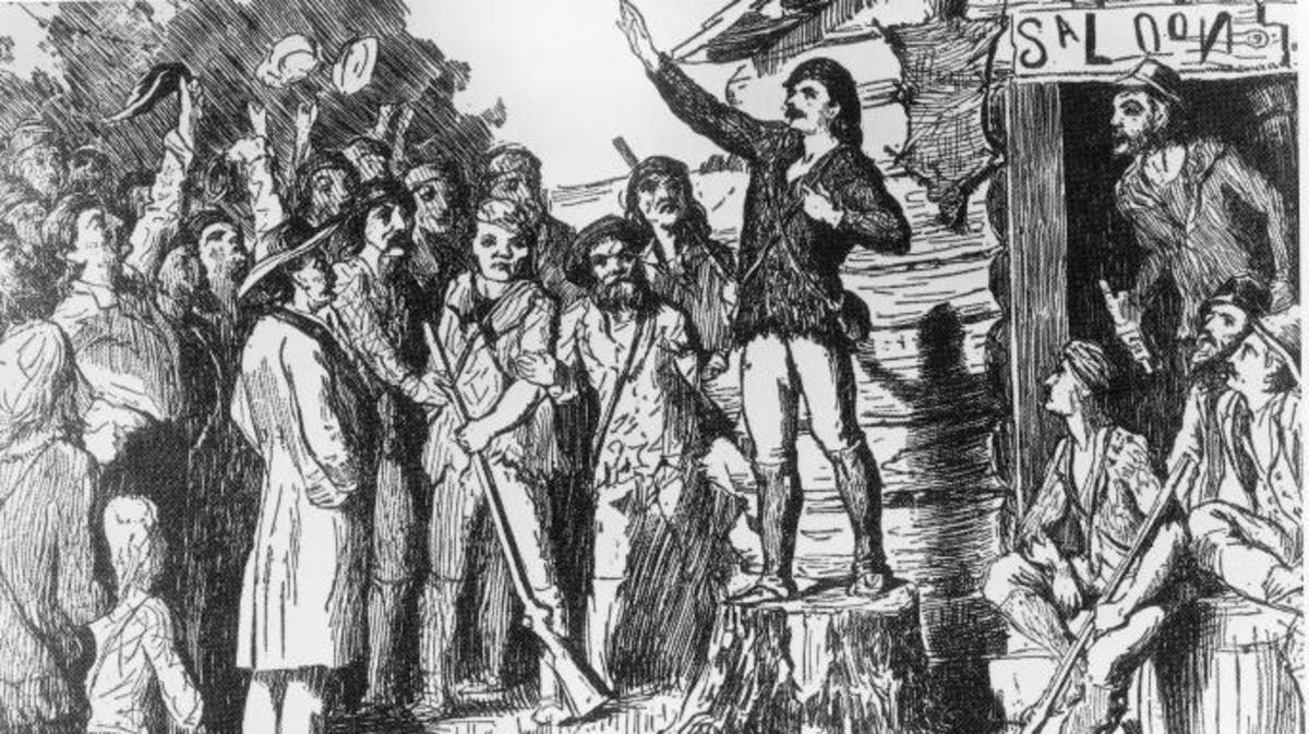 Illustration of Davy Crockett campaigning for the House of Representatives to a group of people, circa 1800s. (Credit: Fotosearch/Getty Images).