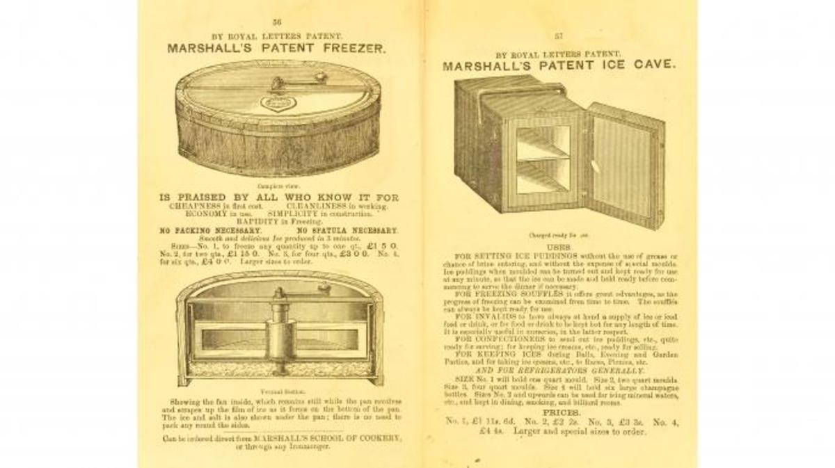 Images of Agnes Marshall's patented freezers from her book, The Book of Ices, 1885. (Credit: University of Leeds Library)