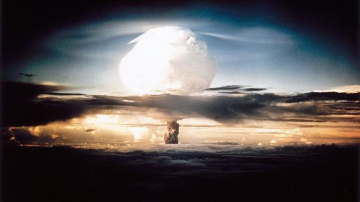 The mushroom cloud produced by the first explosion by the Americans of a hydrogen bomb at Eniwetok Atoll in the South Pacific. Known as Operation Ivy, this test represented a major step forwards in terms of the destructive power achievable with atomic weapons. (Credit: SSPL/Getty Images)
