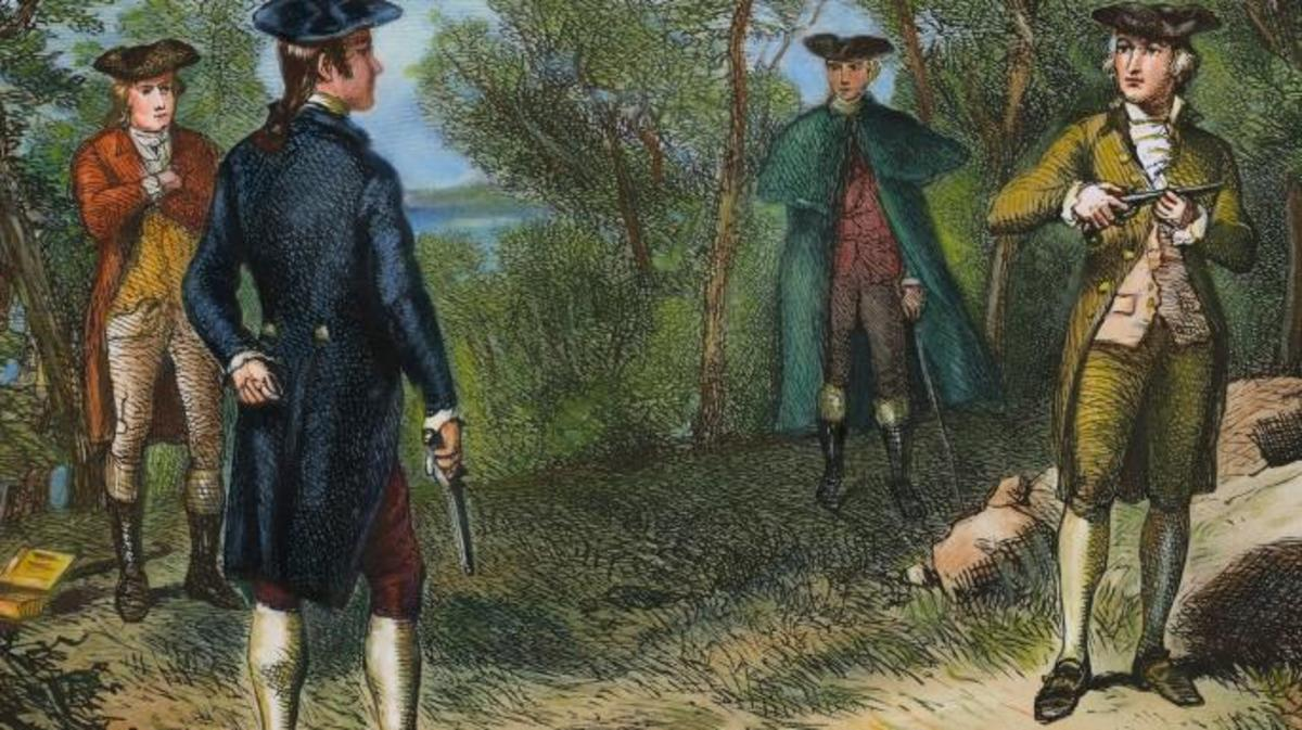 Alexander Hamilton's duel with Aaron Burr at Weehawken, New Jersey. (Credit: Bettmann/Getty Images)