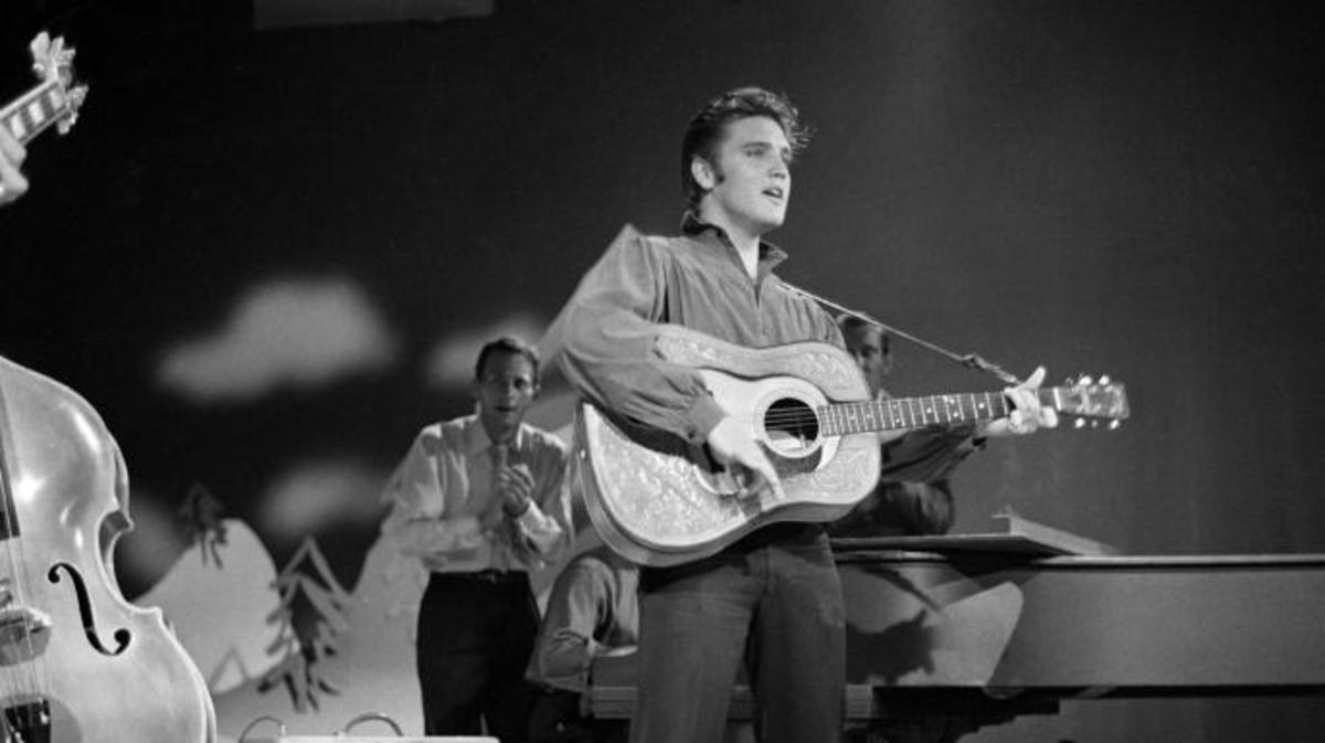 Elvis Presley on The Ed Sullivan Show at CBS Television City, Los Angeles, September 9, 1956. (Credit: CBS via Getty Images)