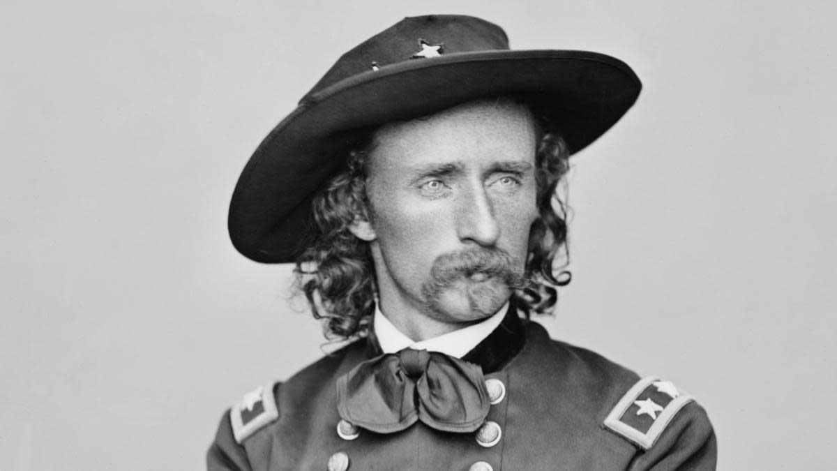 "UNITED STATES - CIRCA 1900: A portrait of George Armstrong Custer, 1839-1876, the ""hero"" of the Indian campaigns. (Photo by Buyenlarge/Getty Images)"