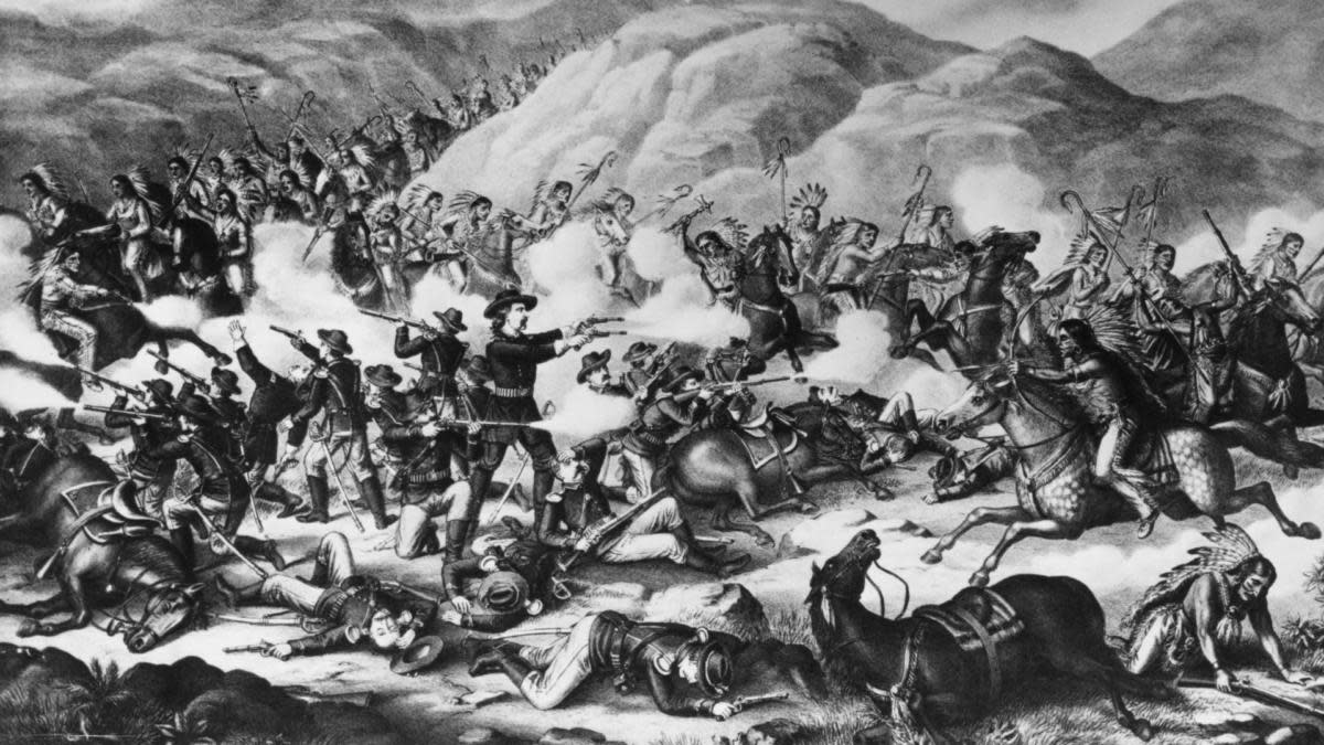 25th June 1876: General Custer with his men from the 7th Cavalry at the Battle of Bighorn being defeated by the combined forces of the Sioux-Cheyenne Indians. (Photo by Hulton Archive/Getty Images)