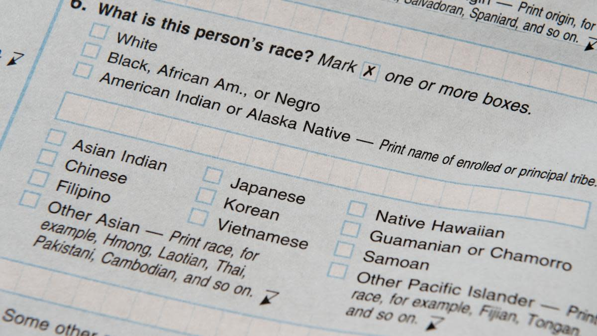 The official US Census form from 2010, providing many more specific options for identifying race than in past forms. (Credit: Paul J. Richards/AFP/Getty Images)