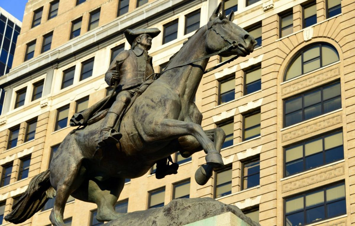Statue of Caesar Rodney on his steed, created in 1922 by James Edward Kelly, in Rodney Square in Wilmington, Delaware. In June 2020, during national protests over racial injustice, the statue was removed and placed in storage. (Credit: M.Torres/Getty Images)