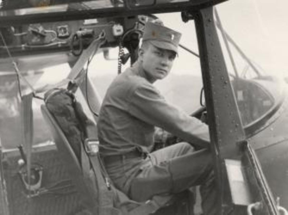 U.S. Army Lt. Charles Kettles at the controls of an Army L-19 aircraft, 1954. (Photo courtesy of Retired U.S. Army Lt. Col. Charles Kettles)