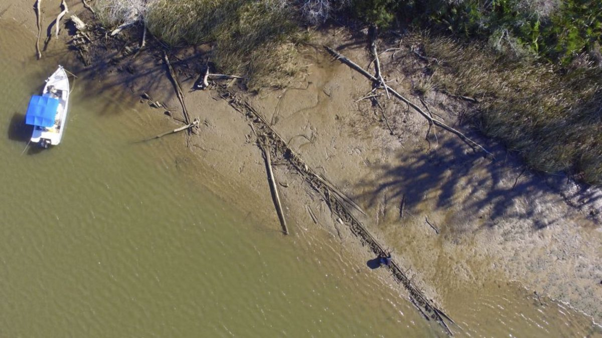 An aerial photo taken Tuesday, January 2, 2018, in Mobile, Alabama, of what was though to be the Clotilda, the last slave ship documented to have delivered captive Africans to the United States. (Credit: Ben Raines/Al.com via AP)
