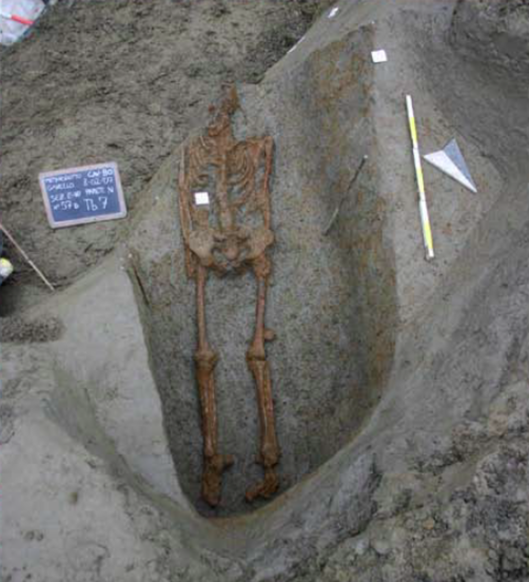The burial discovered near Gavello in the Po Plain. (Credit: Soprintendenza Archeology, Fine Arts and Landscape for the Provinces of Verona, Rovigo and Vicenza)