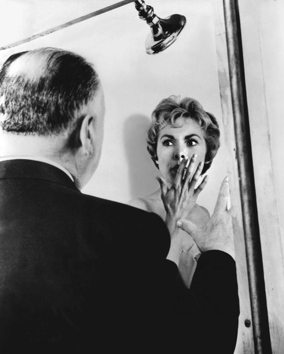 Alfred Hitchcock with Janet Leigh on the set of Psycho
