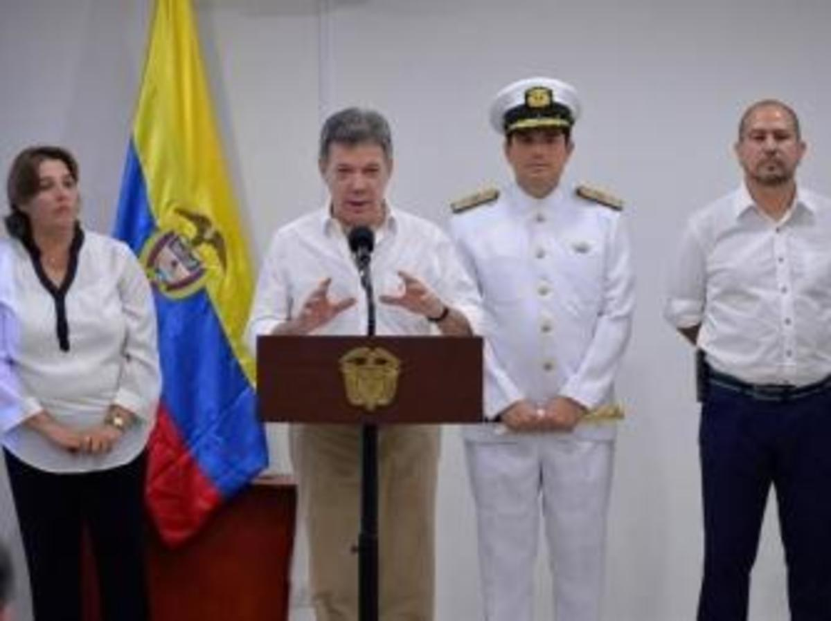 Colombia's President Juan Manuel Santos during a press conference announcing the discovery of the remains of the galleon San Jose. (Credit: Colombian Ministry of Culture)