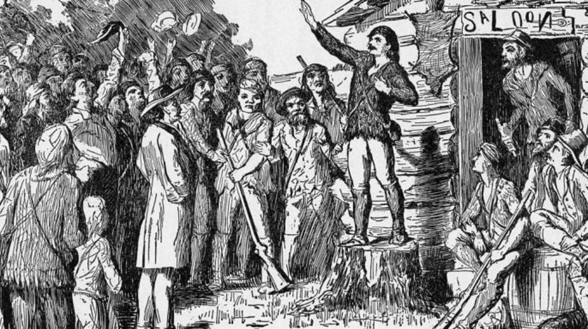 Etching of Davy Crockett campaigning for the U. S. House of Representatives in the Tennessee frontier.