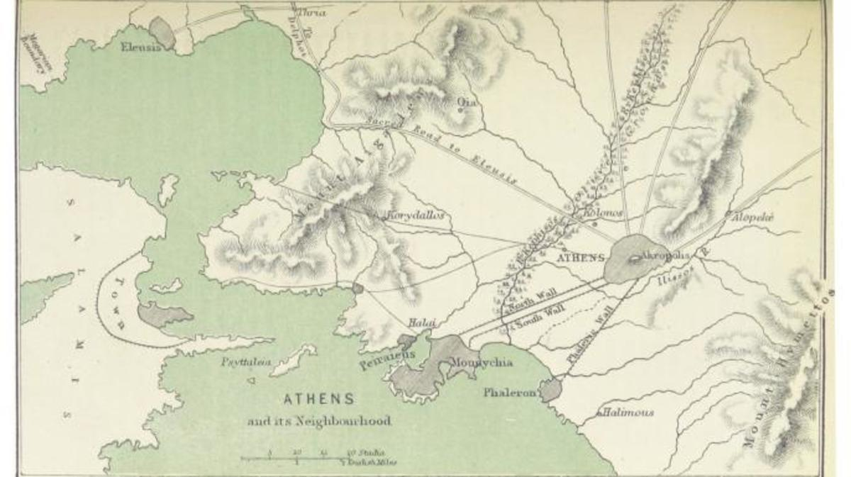 Map of Athens, including the long walls. (Credit: Public Domain)