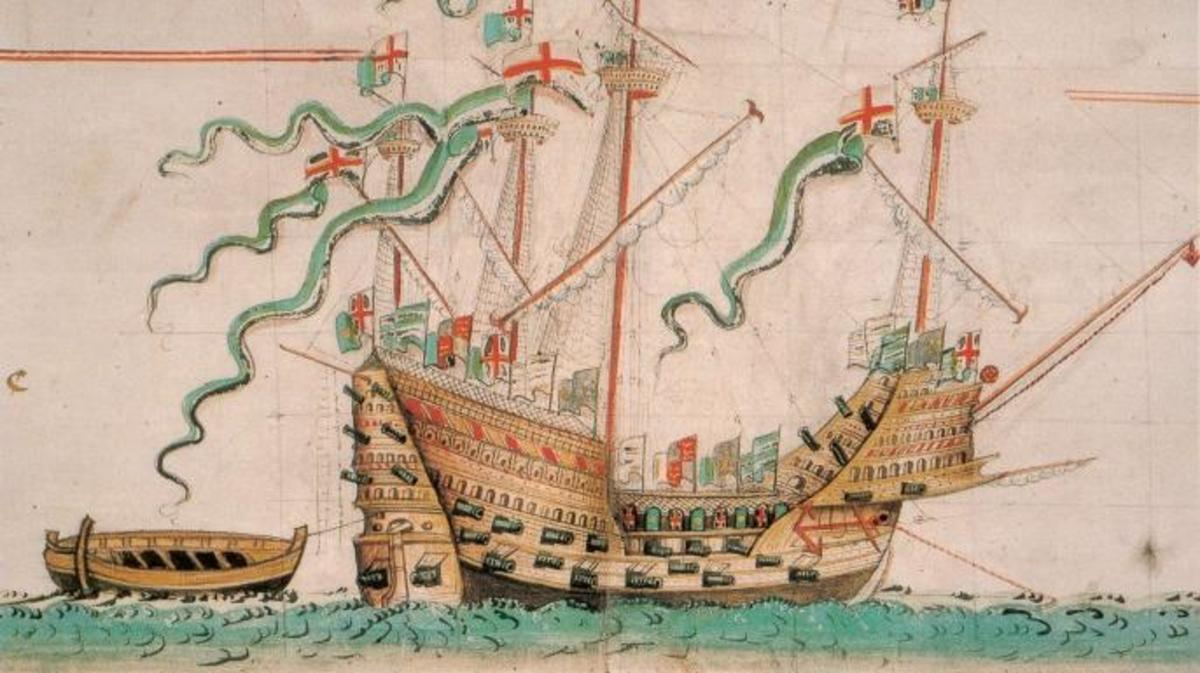 1546 illustration of Mary Rose.