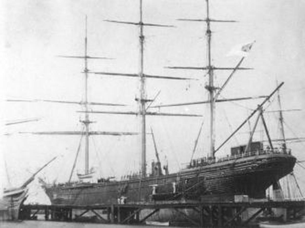 CSS Shenandoah in dry dock in Williamstown, Victoria, Australia, 1865.